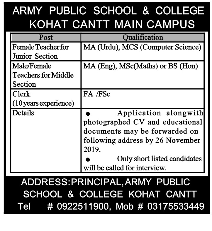 APS Army Public School College Kohat Jobs