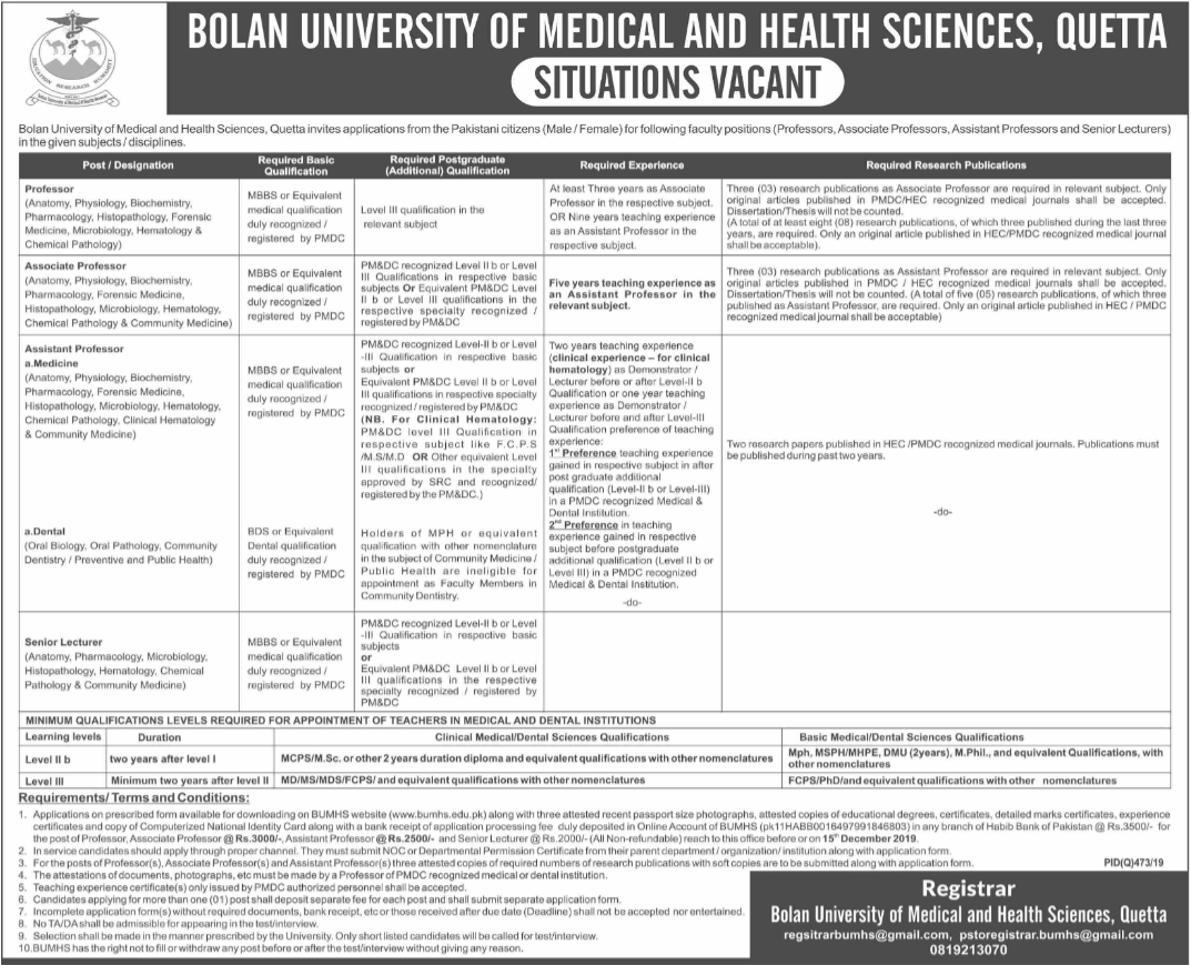 BUMHS Bolan University of Medical and Health Sciences Jobs