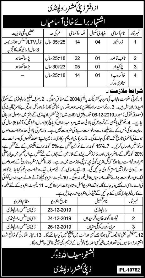 Deputy Commissioner Office Rawalpindi Jobs