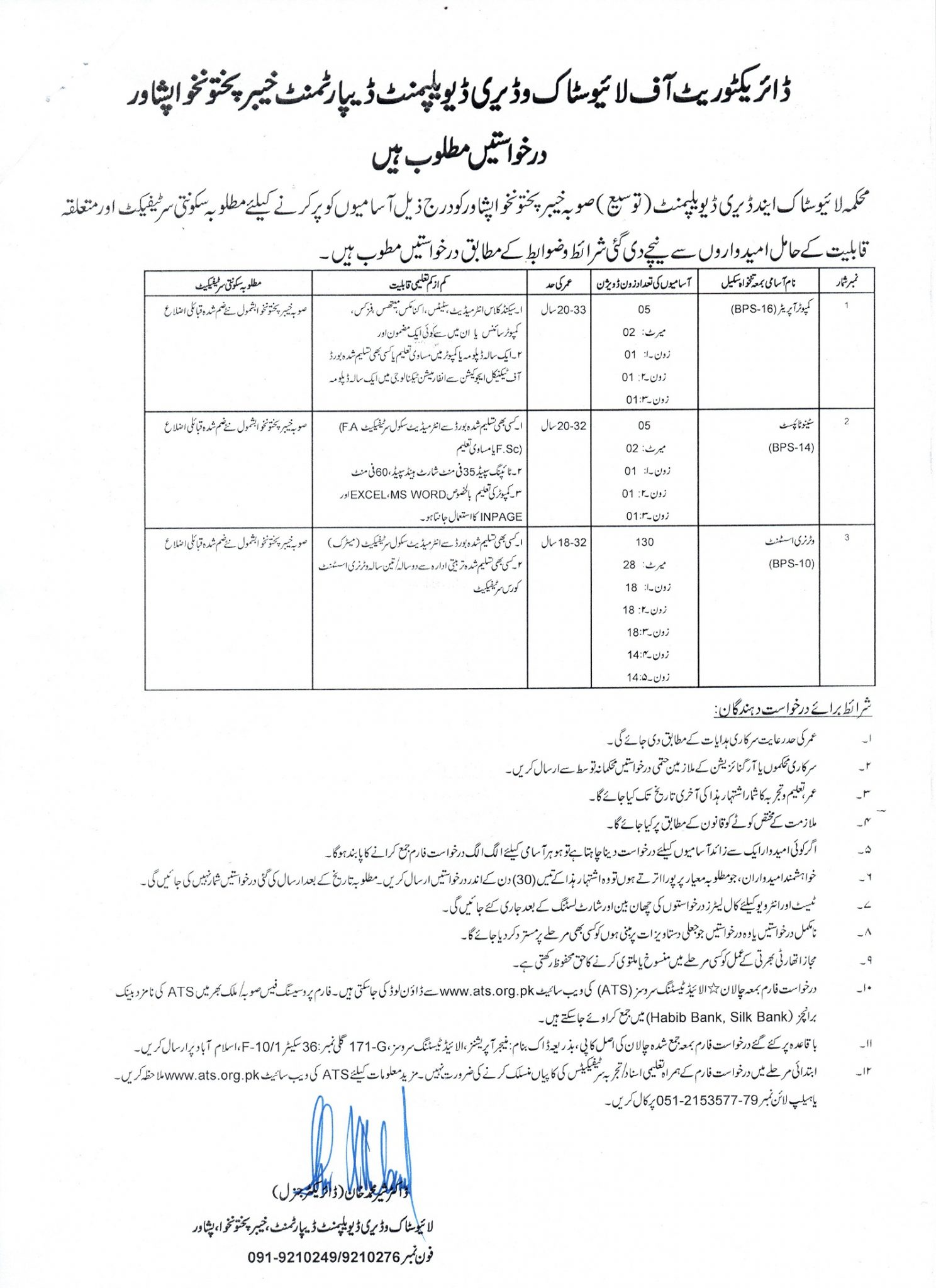 Livestock Department KPK Peshawar Jobs