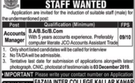 Fazaia Inter College Kallar Kahar Jobs