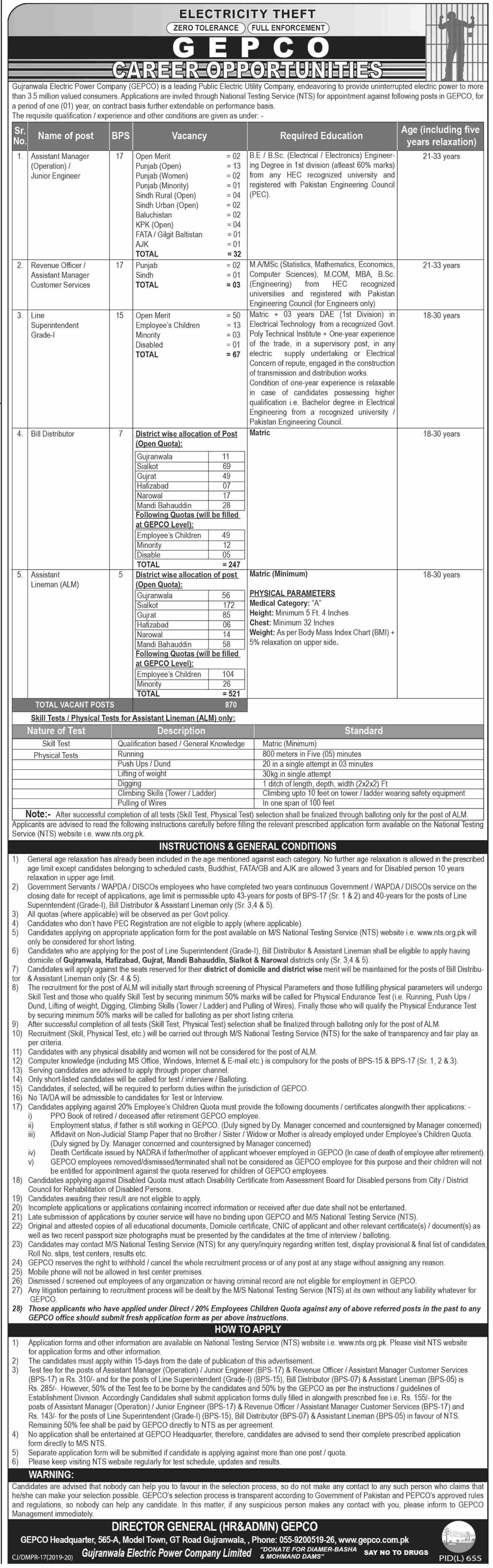 Gepco Jobs NTS Test Roll No Slip