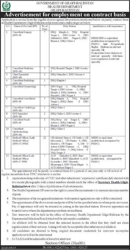 Health Department Gilgit Baltistan GB Jobs