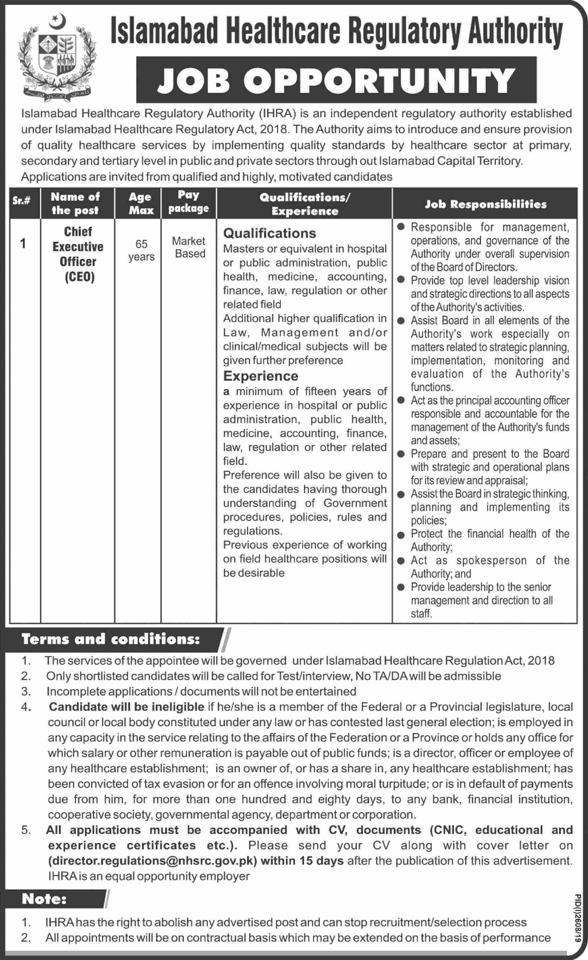 Islamabad Healthcare Regulatory Authority IHRA Jobs November 2019