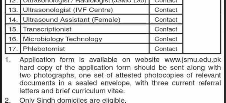 Jinnah Sindh Medical University Karachi Jobs JSMU 2019