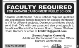 Karachi Cantonment Board KCB Jobs For Teachers
