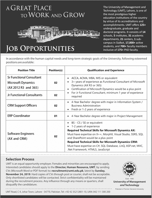 University of Management and Technology Lahore UMT Jobs