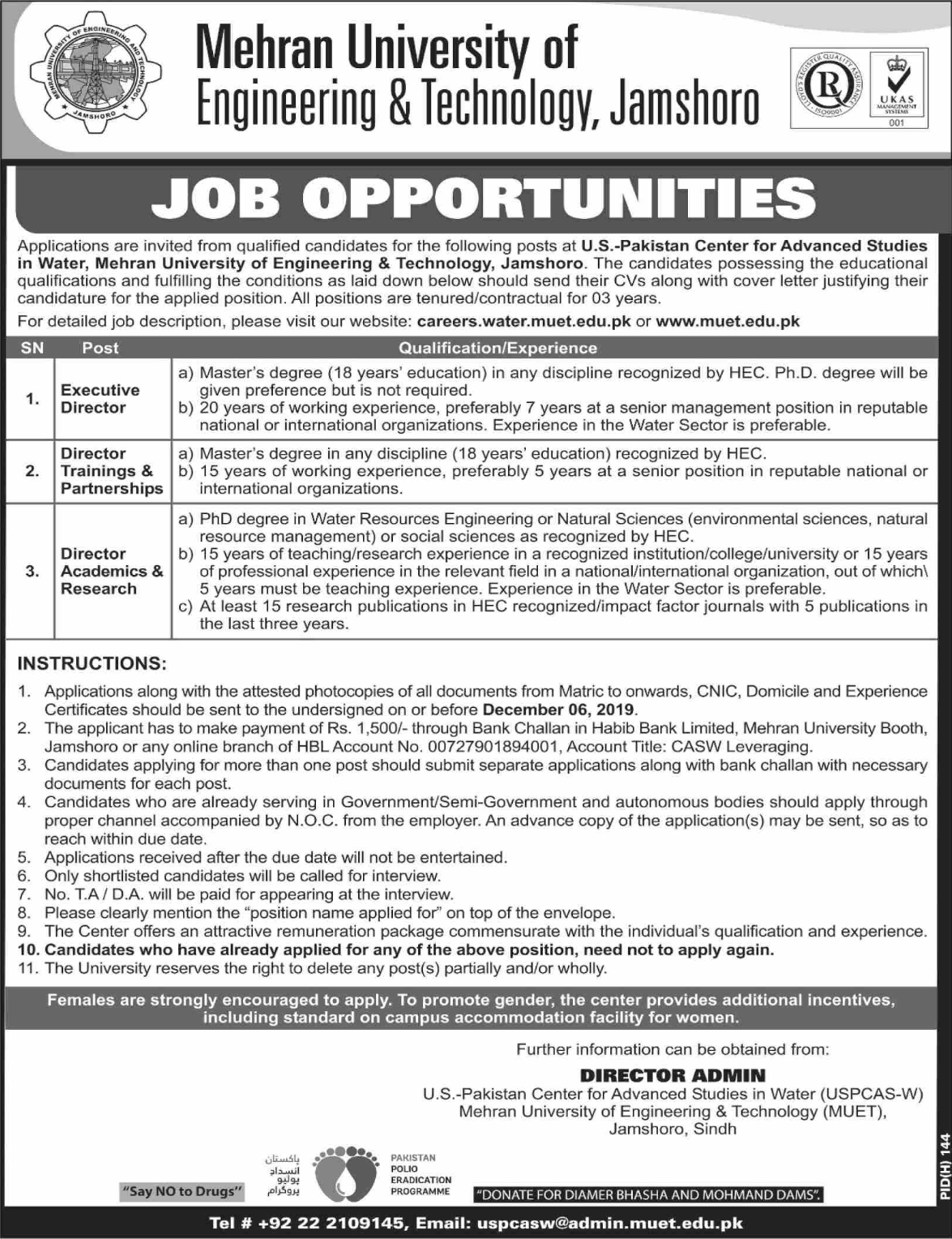 Mehran University of Engineering and Technology MUET Jobs