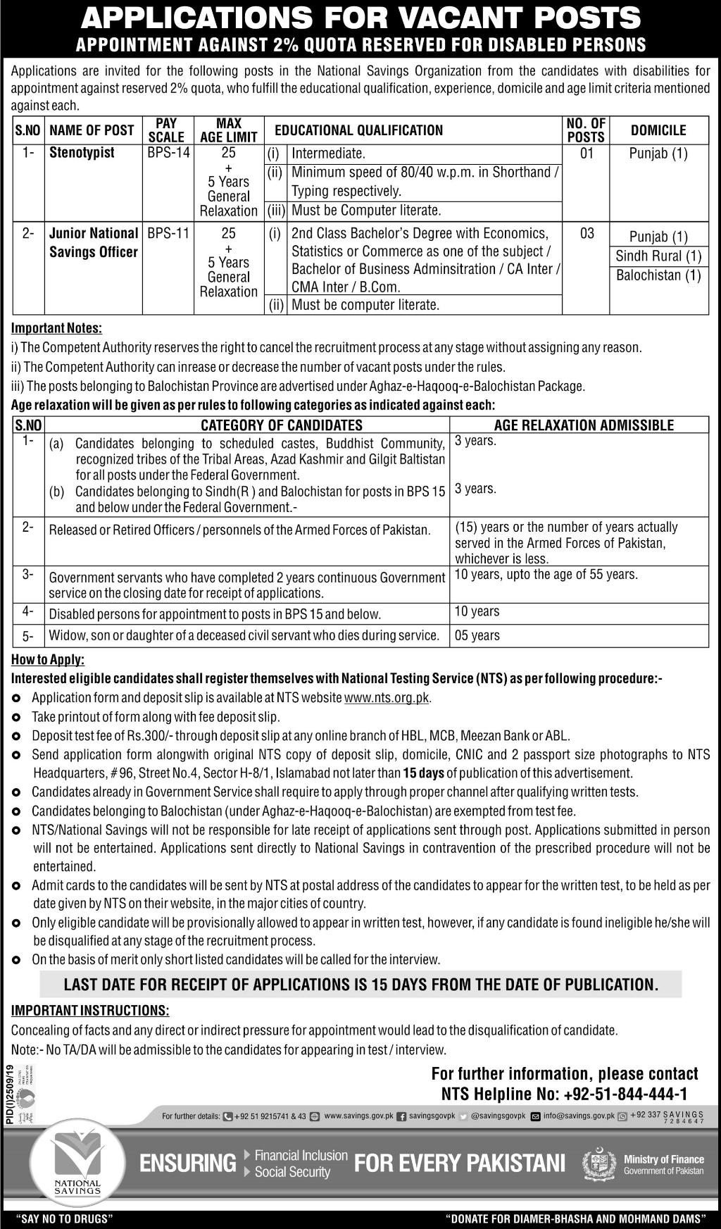 National Savings Organization of Pakistan Latest Jobs