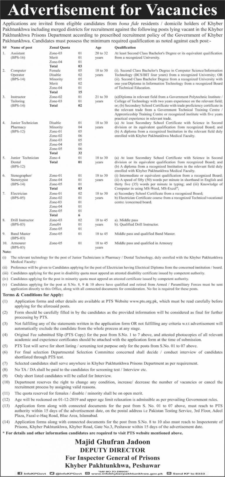 Prison Department Jobs KPK