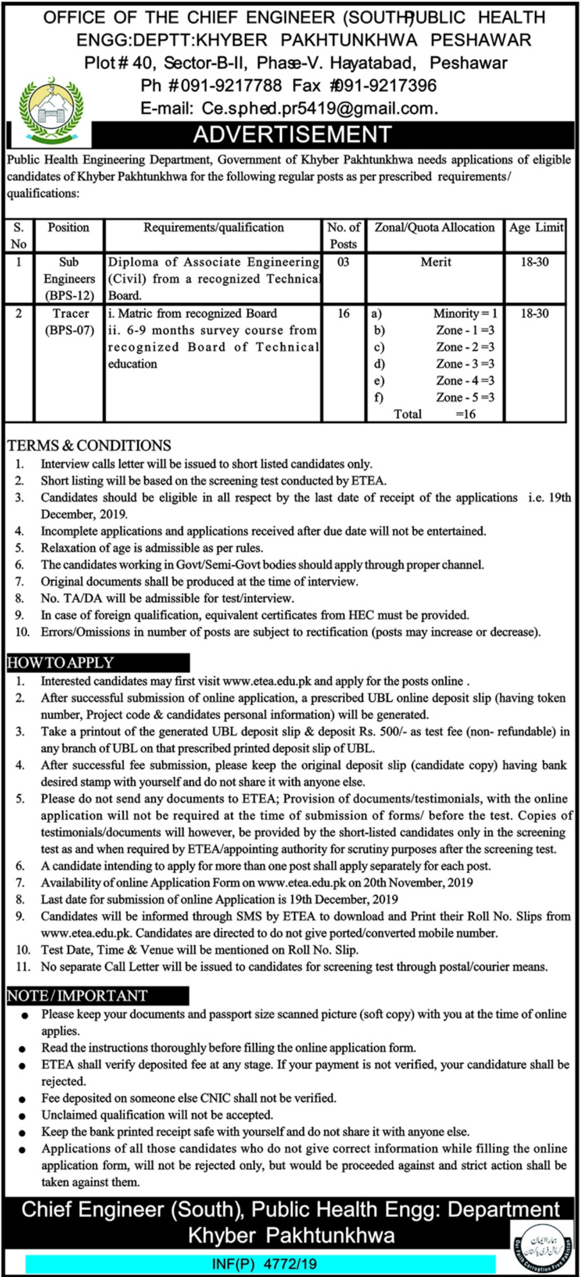 Public Health Engineering Department PHED Jobs KPK Peshawar