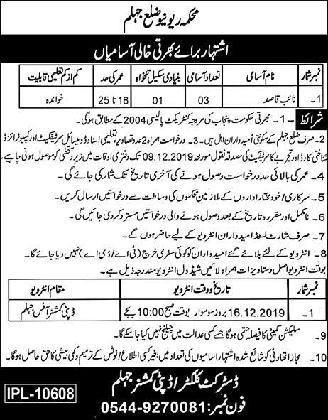 Jhelum Revenue Department Jobs 2019