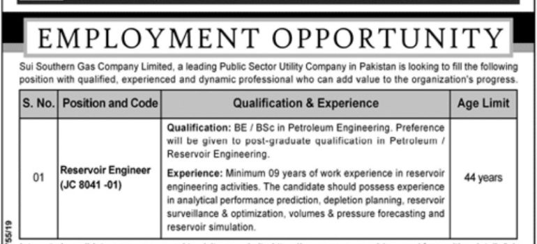 Sui Southern Gas Company Limited SSGC Jobs 2019