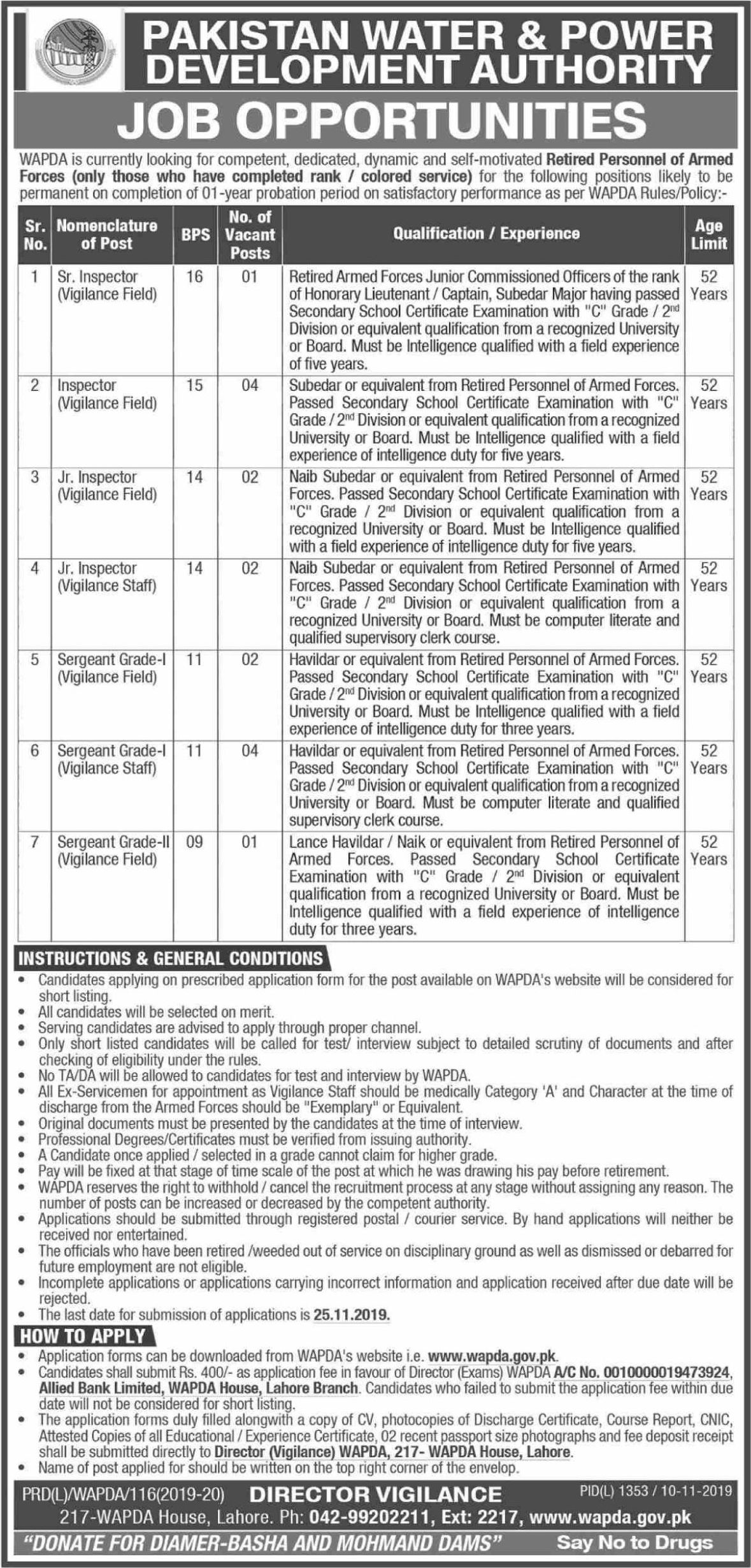Water and Power Development Authority WAPDA Jobs November 2019