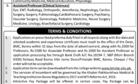 BMCKP Bannu Medical College Jobs November 2019