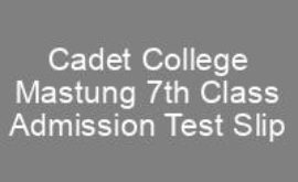 Cadet College Mastung 7th Class Admission CTSP Test Roll No Slip