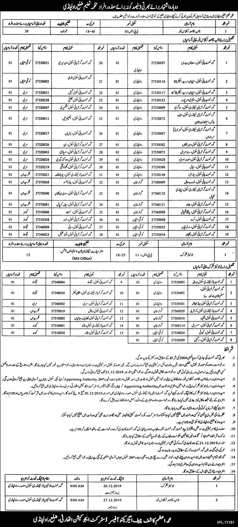 District Education Authority Rawalpindi Jobs