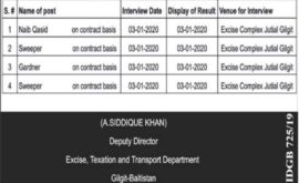 Excise Taxation Transport Department Jobs Gilgat Baltistan