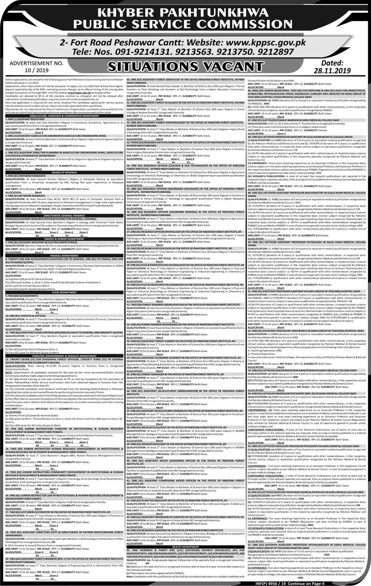 KPK Public Service Commission KPPSC Jobs Test Roll No Slip