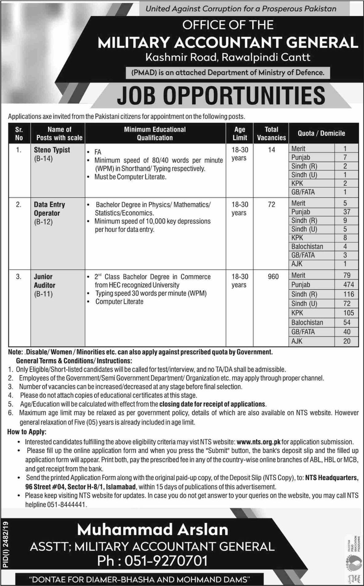 Skill Test Roll No Slip Office Of Military Accountant General PMAD Jobs