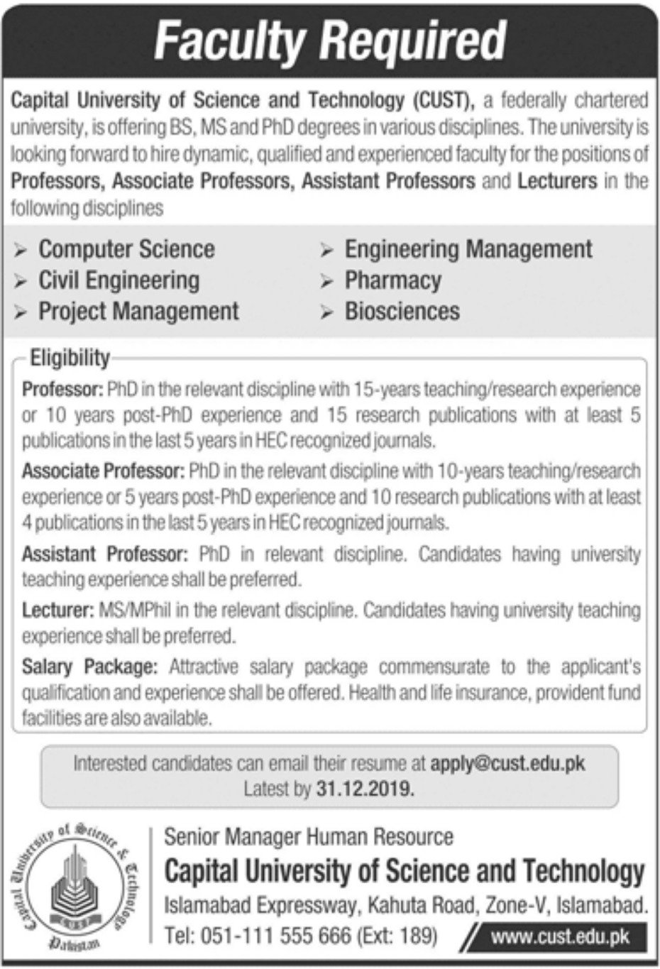 Capital University of Science Technology Jobs CUST Islamabad