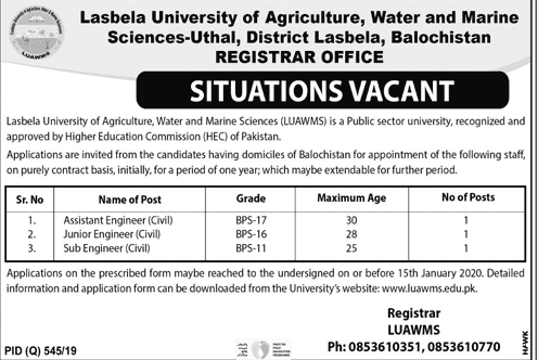 LUAWMS Jobs Lasbela University of Agriculture, Water & Marine Sciences