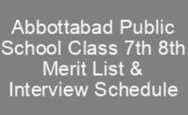APS Merit List Interview Schedule 7th 8th Class