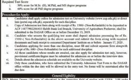 AUP Peshawar Admission Test MSc MS Mphil PhD Result Merit List