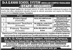 Dr AQ Khan School System Jobs in Abdullah Campus Faisalabad