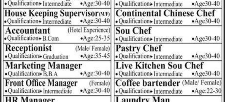 Four Star Hotel Restaurant Bahria Town Jobs
