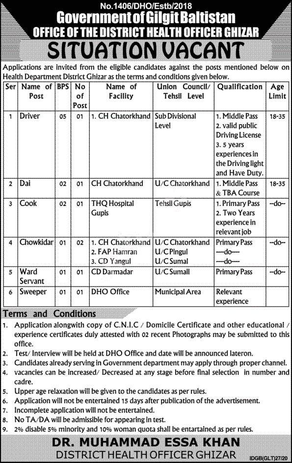 Health Department Ghizer Jobs