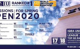 Iqra University Spring 2020 Admission Merit List