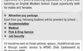 Army Public School and College Zhob Jobs