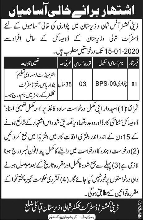 Deputy Commissioner Office Waziristan Jobs
