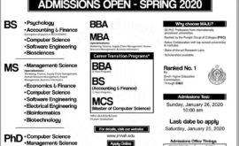 MAJU Spring Admission 2020 Merit List