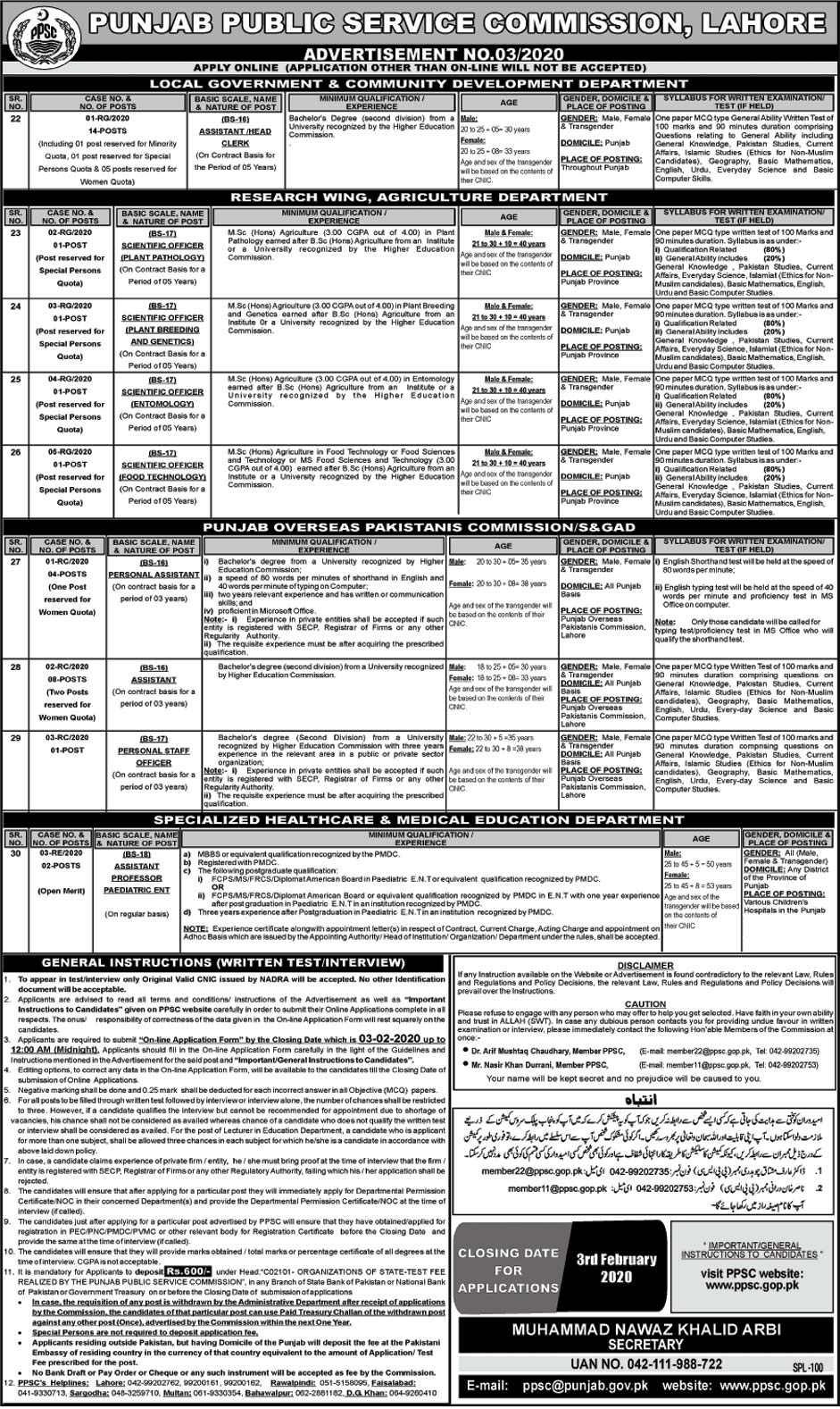 PPSC Jobs Punjab Public Service Commission 19 January 2020