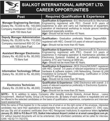 Sialkot International Airport Jobs