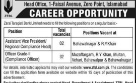 Zarai Taraqiati Bank Ltd ZTBL Jobs