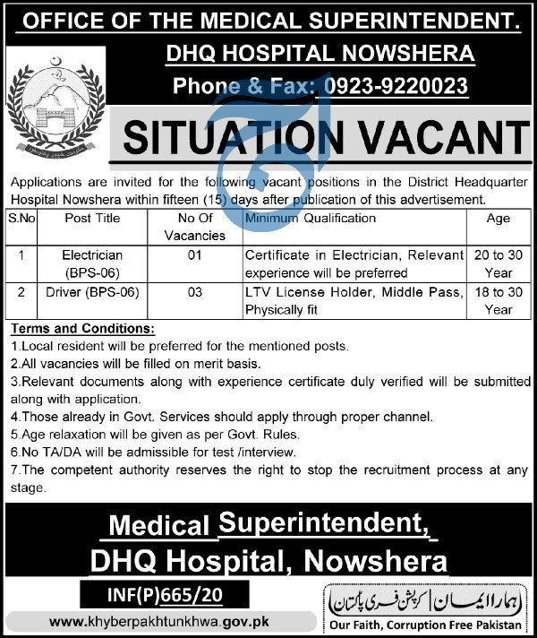 DHQ Hospital Nowshera Jobs