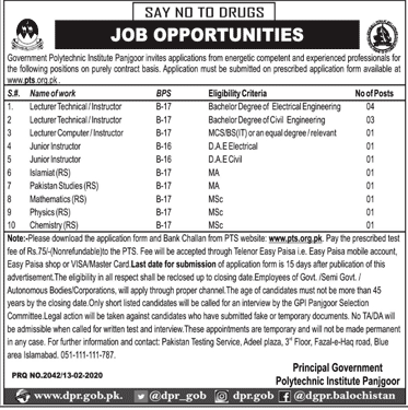 Polytechnic Institute Panjgoor Jobs