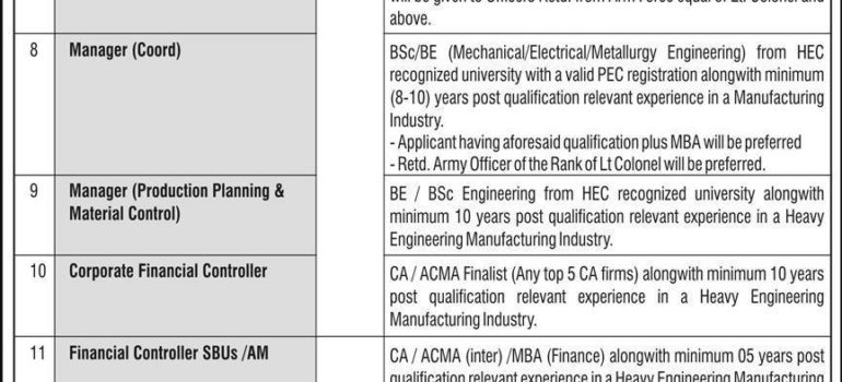 Heavy Mechanical Complex HMC Taxila Jobs