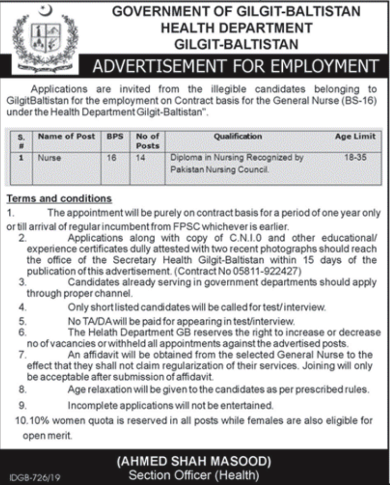 Gilgit Baltistan Health Department Jobs CTSP Results