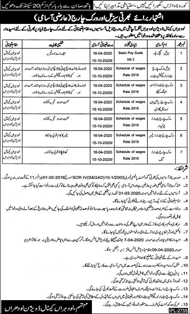 Irrigation Department Jobs Lodhran