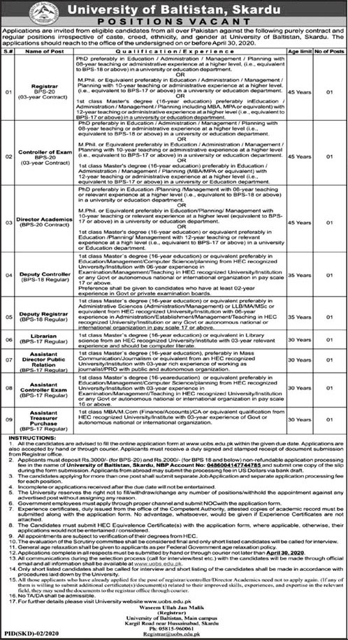 University of Baltistan Skardu Jobs