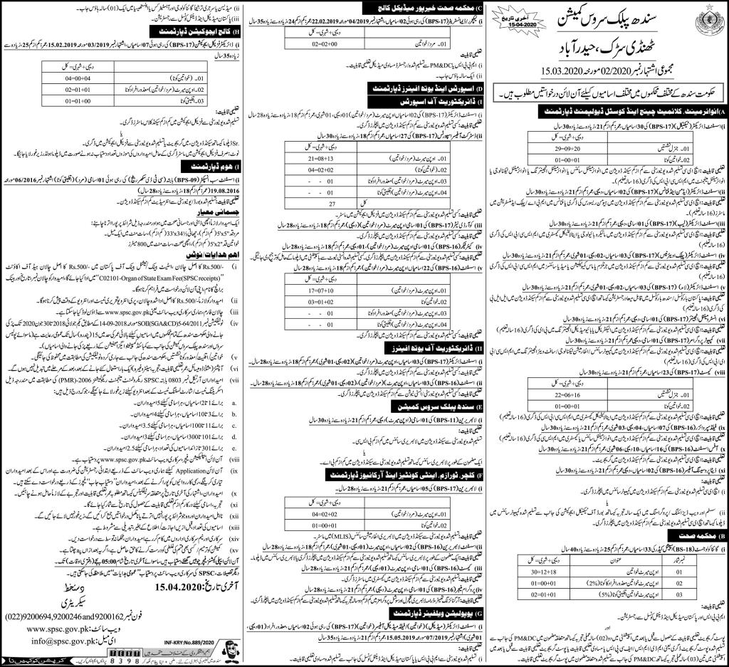 Sindh Public Service Commission SPSC Jobs