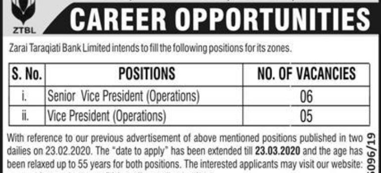 ZTBL Zarai Taraqiati Bank Limited Jobs