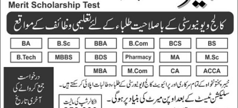 Tabeer Scholarship Program KPK NTPA Roll No Slip