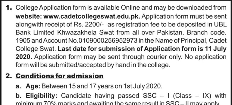 Cadet College Swat CCS Admissions 11th Class 2020 Test Date
