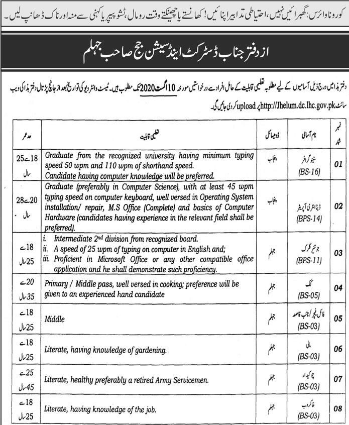 District Session Judge Jhelum Jobs Test Date Interview Schedule Merit List