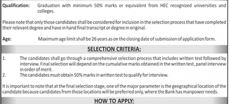 The Bank of Khyber MTOs Cash Officers Jobs NTS Result